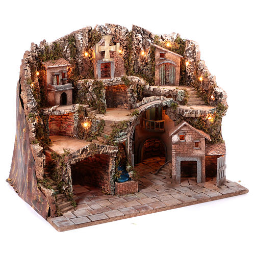 Neapolitan Nativity scene village setting 70x85x60 cm 3