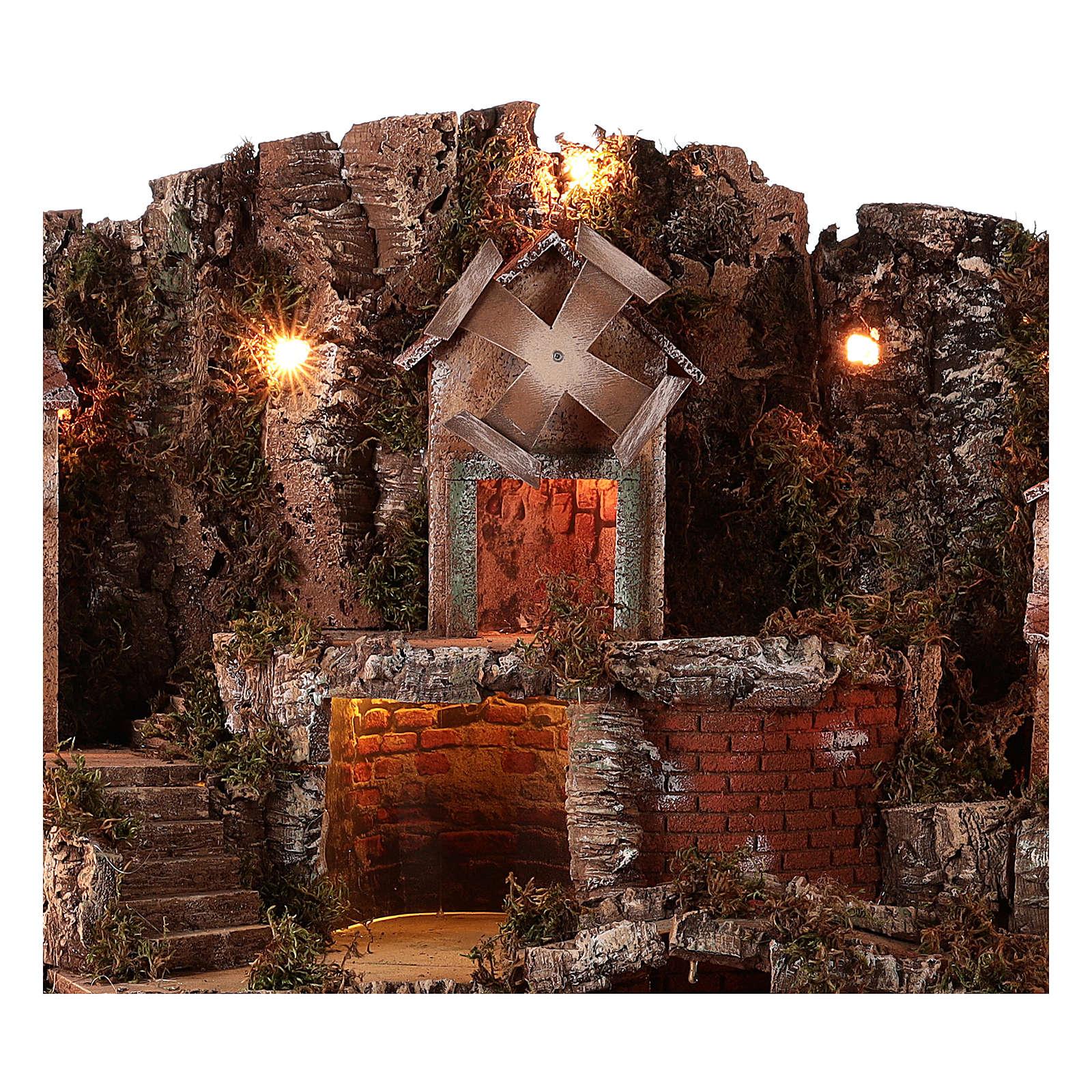 Village setting for Neapolitan Nativity scene 70x85x55 cm 4