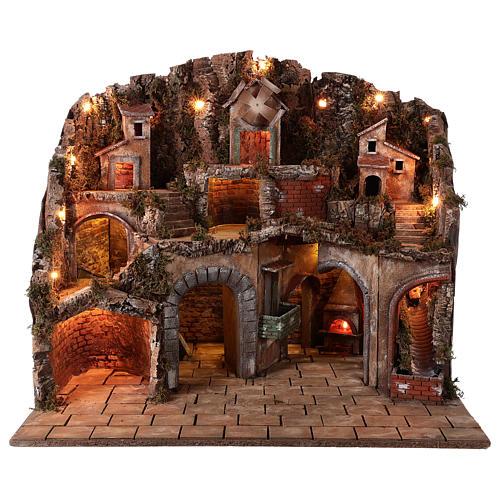 Village setting for Neapolitan Nativity scene 70x85x55 cm 1