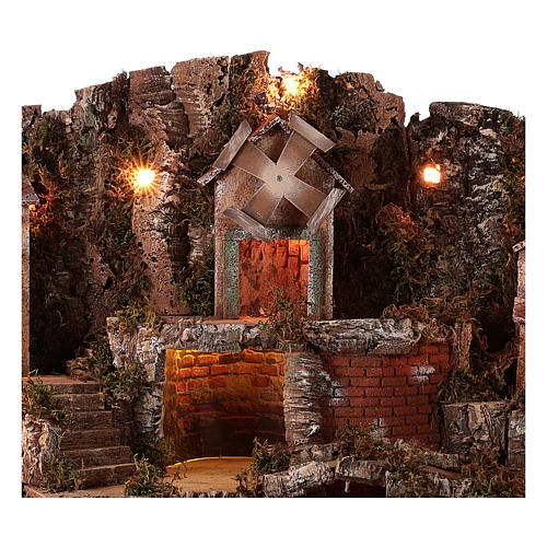 Village setting for Neapolitan Nativity scene 70x85x55 cm 2