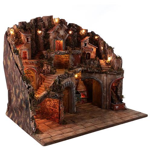 Village setting for Neapolitan Nativity scene 70x85x55 cm 5