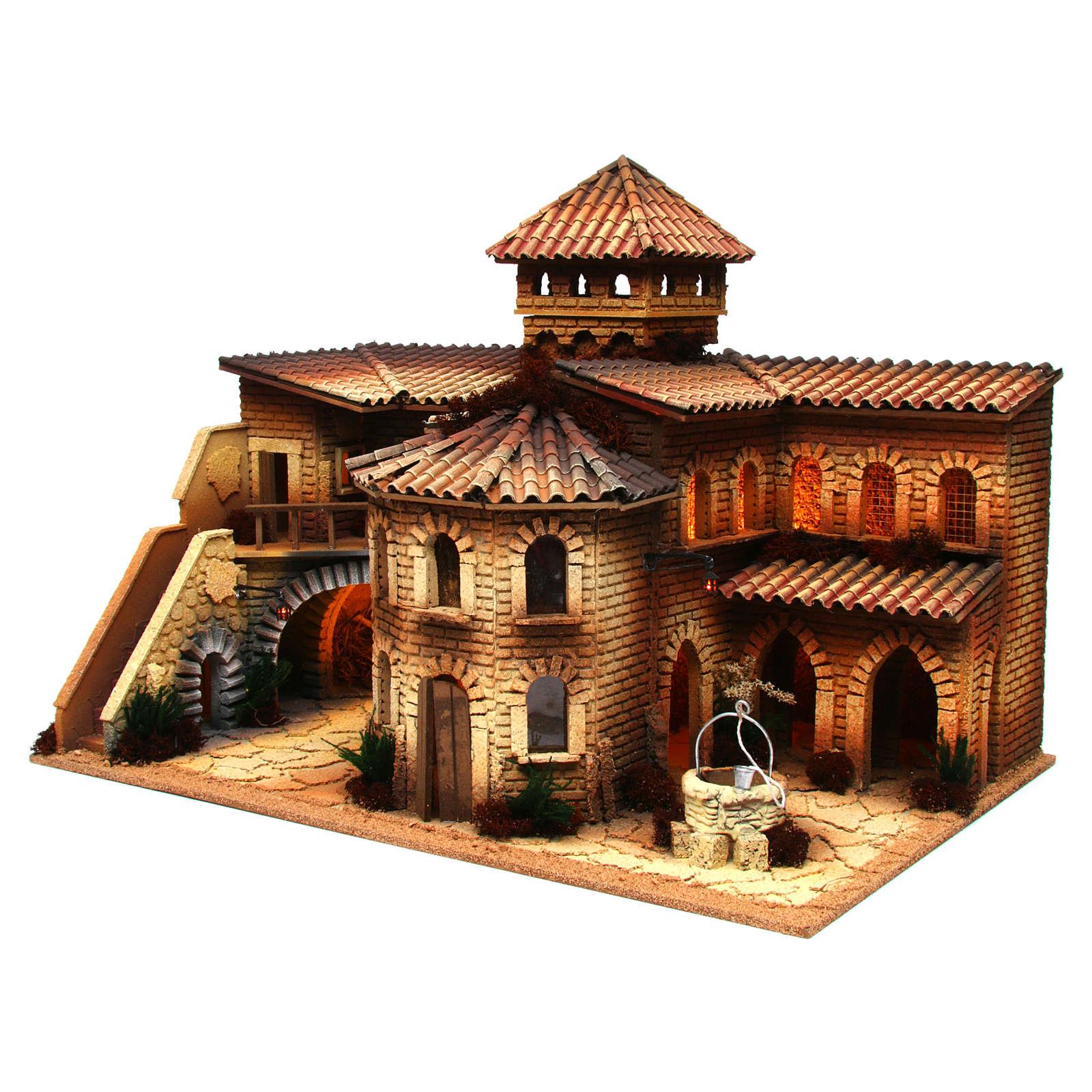 Village en liège éclairé avec grotte pour crèche 50x70x45 cm 4