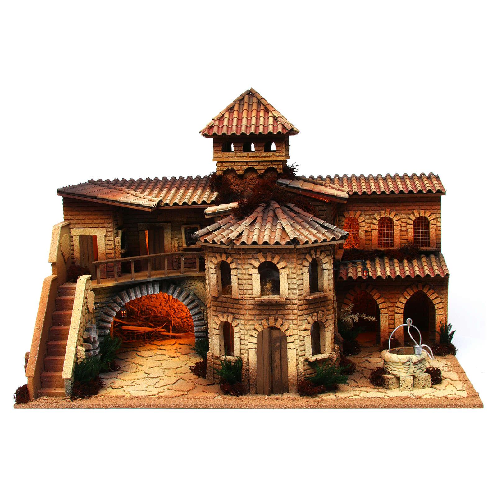 Borgo in sughero illuminato con grotta per presepe 50x70x45 cm  4