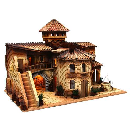 Borgo in sughero illuminato con grotta per presepe 50x70x45 cm  3