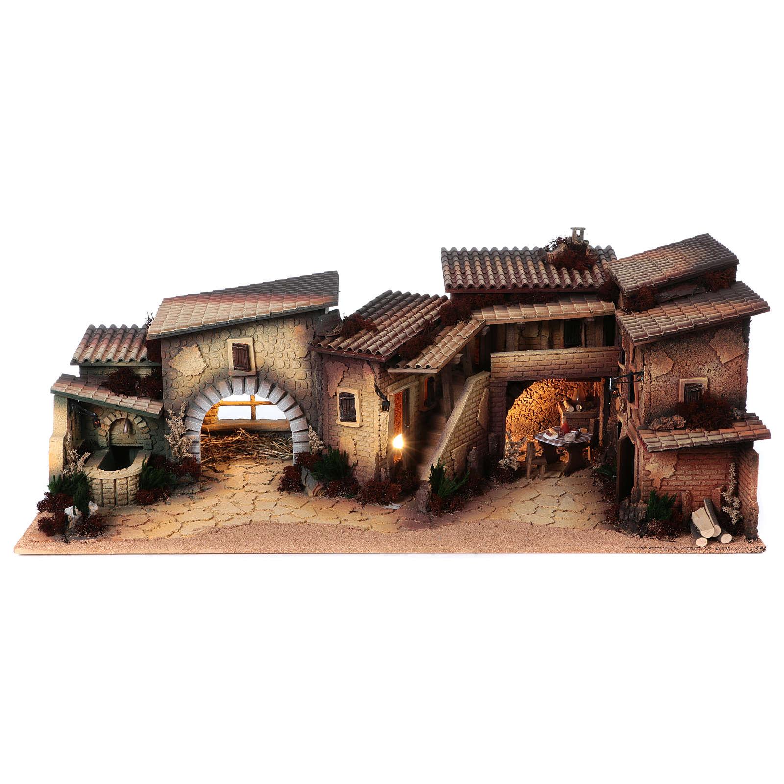 Village populaire crèche 35x100x45 cm 4