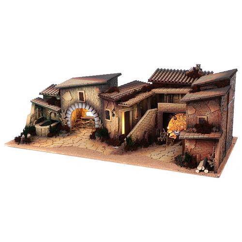Village populaire crèche 35x100x45 cm 2
