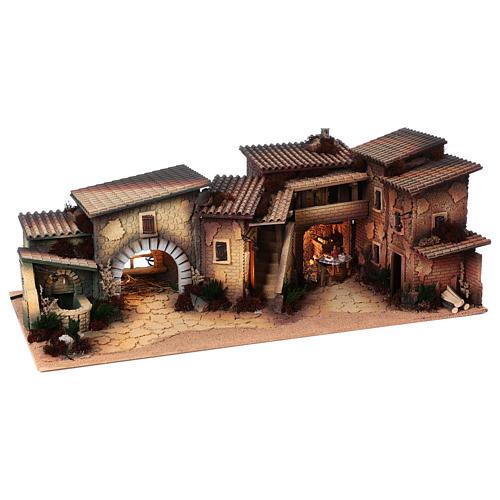 Village populaire crèche 35x100x45 cm 3