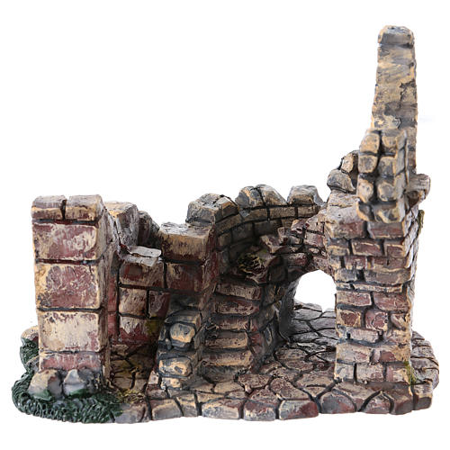 Crumbling Stone Tower 11x10x10 cm Resin for Nativity 1