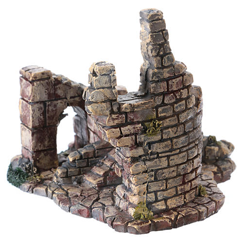 Crumbling Stone Tower 11x10x10 cm Resin for Nativity 2