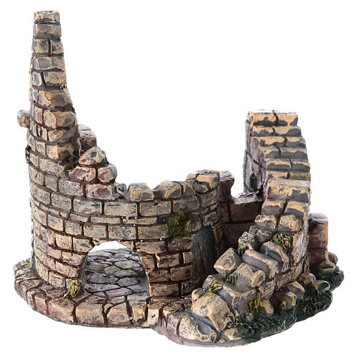 Crumbling Stone Tower 11x10x10 cm Resin for Nativity 3