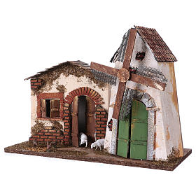 Windmill with small engine 30x40x20 cm for Nativity Scene s2