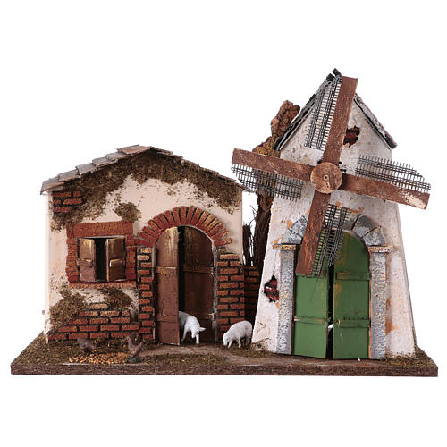 Windmill with small engine 30x40x20 cm for Nativity Scene 1