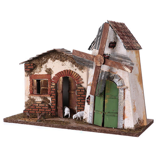 Windmill with small engine 30x40x20 cm for Nativity Scene 2