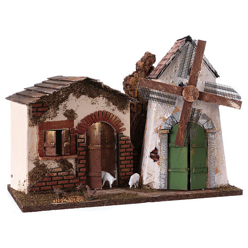 Windmill with small engine 30x40x20 cm for Nativity Scene 3