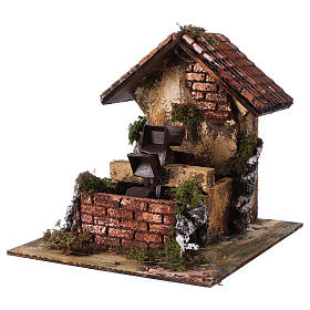 Brick Water Mill 20x25x25 cm for Nativity s2