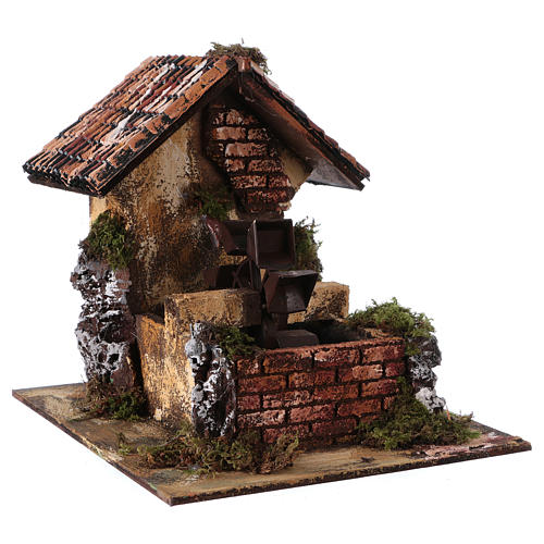 Brick Water Mill 20x25x25 cm for Nativity 3