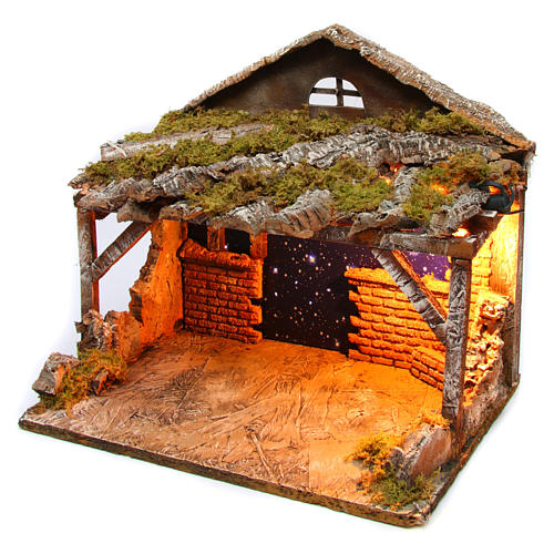 Hut with sky 25x35x25 cm for Neapolitan Nativity Scene 2