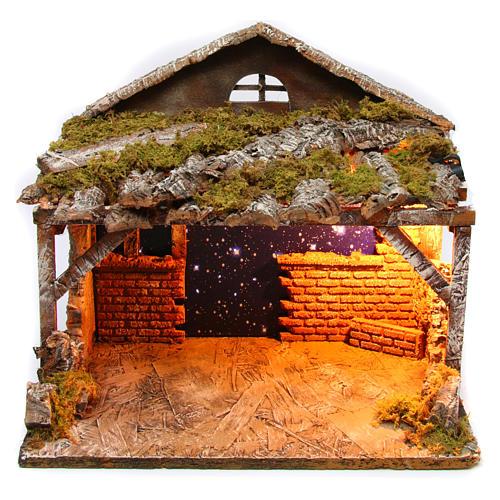 Stable with starry sky for Neapolitan Nativity Scene 25x35x25 cm 1