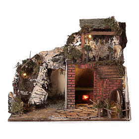 Ambientazione rustica con cucina 30X40X30 cm presepe napoletano s1