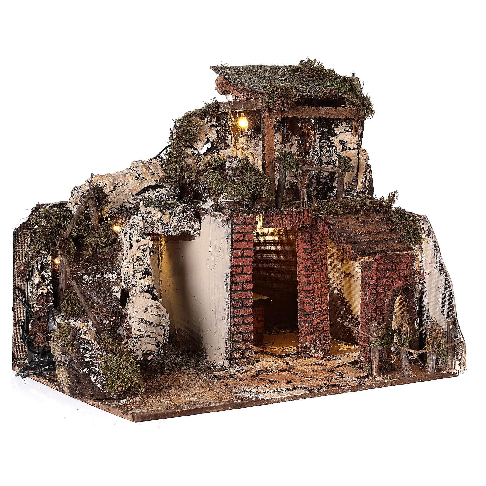 Neapolitan Nativity Scene rural setting with kitchen 30x40x30 cm 4