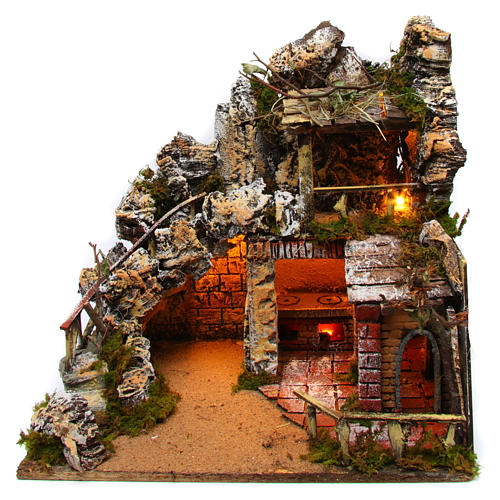 Neapolitan Nativity Scene rural setting with kitchen 30x40x30 cm 1
