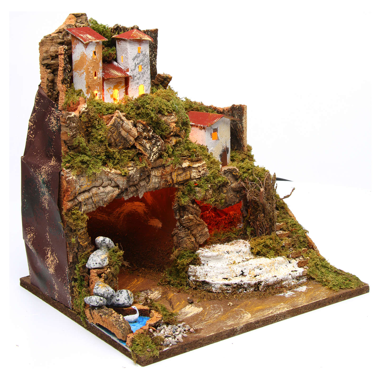 Hut in hamlet for Nativity Scene 8-10 cm with lights 35x33x30 cm 4