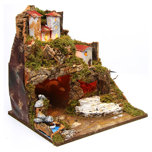 Hut in hamlet for Nativity Scene 8-10 cm with lights 35x33x30 cm 3