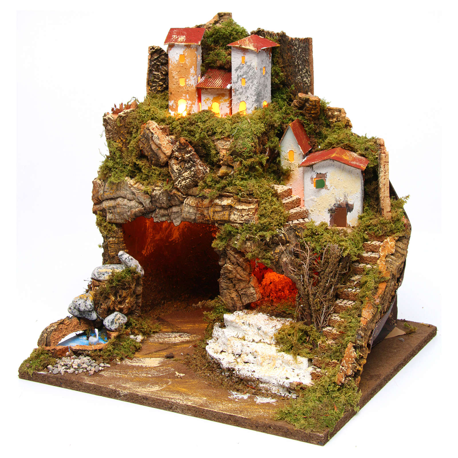 Lighted stable in hamlet for 8-10 cm Nativity Scene 35x33x30 cm 4