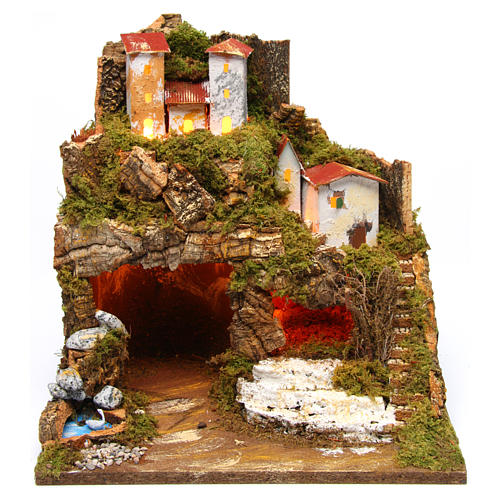 Lighted stable in hamlet for 8-10 cm Nativity Scene 35x33x30 cm 1