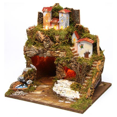 Lighted stable in hamlet for 8-10 cm Nativity Scene 35x33x30 cm 2