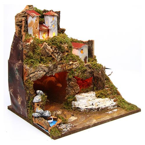 Lighted stable in hamlet for 8-10 cm Nativity Scene 35x33x30 cm 3