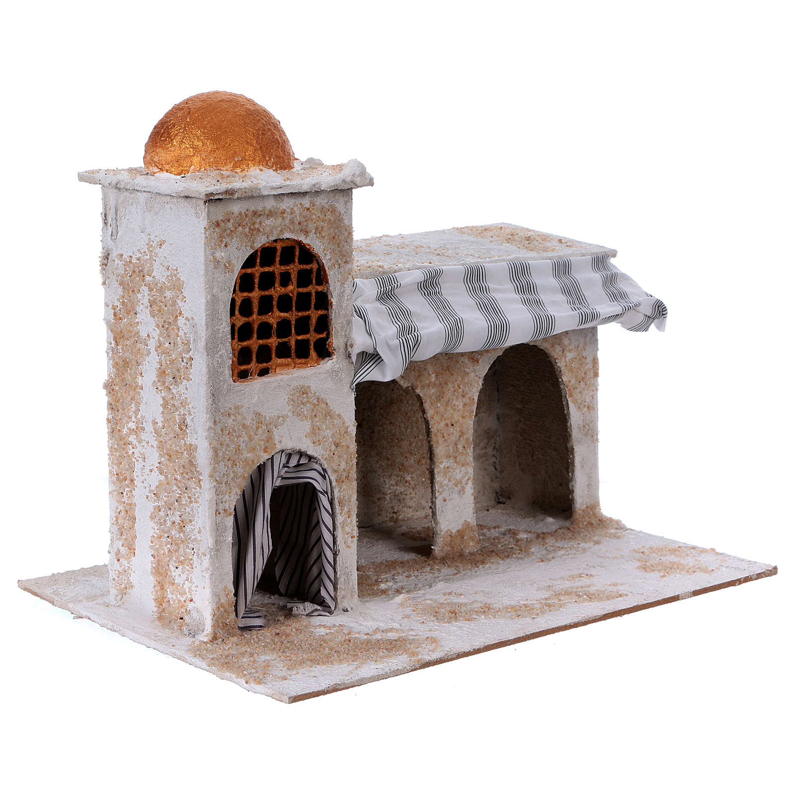 Arab house with curtains for Nativity scene 25x30x20 cm 4
