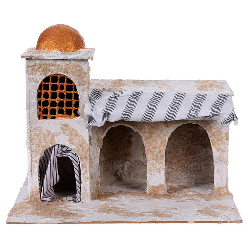 Arab house with curtains for Nativity scene 25x30x20 cm 1