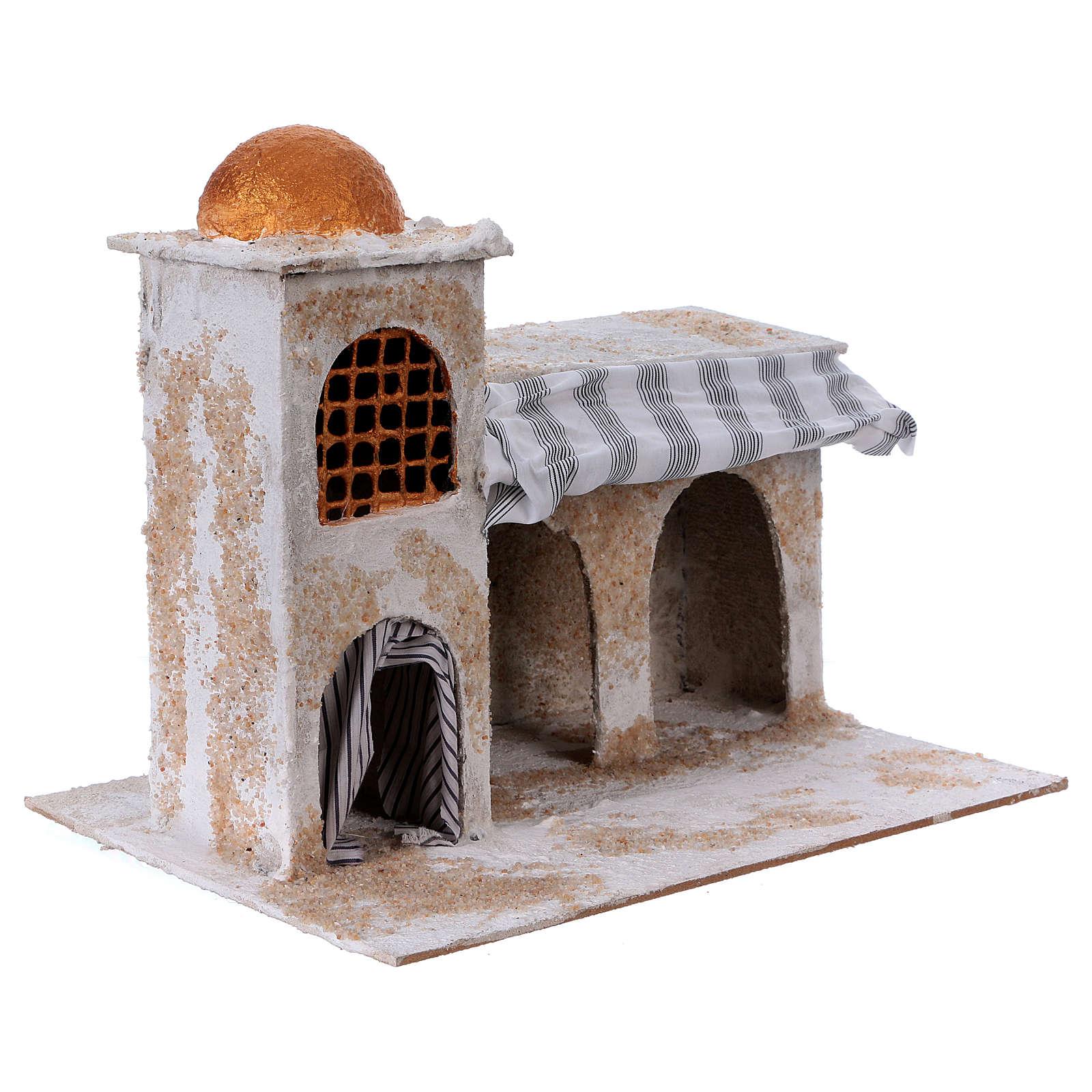 Maison arabe avec rideaux 25x30x20 cm crèche napolitaine 4