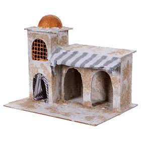 Maison arabe avec rideaux 25x30x20 cm crèche napolitaine s2