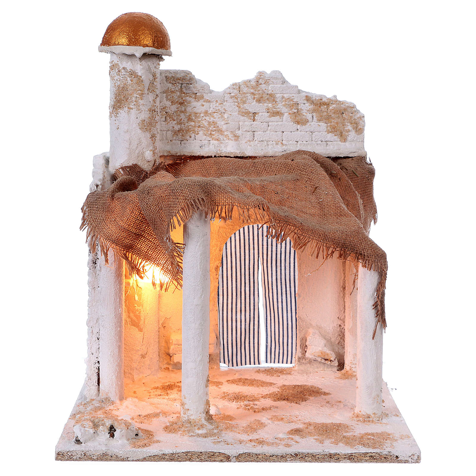 Arab style Nativity setting with dome and light 40x30x30 cm 4