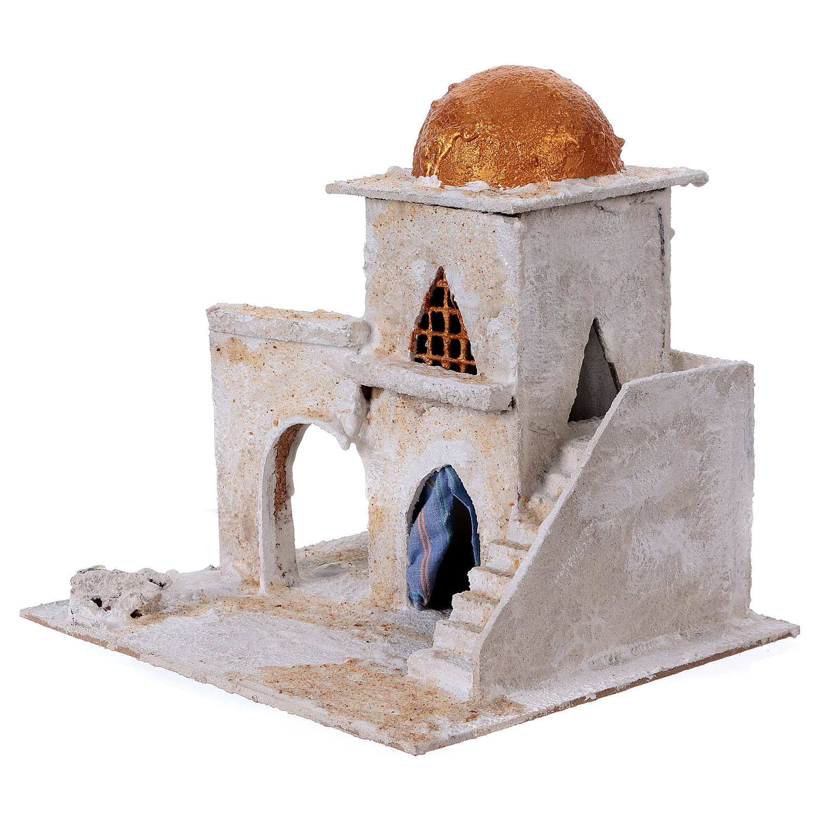 Arab house with stairs and archway for Nativity scene 25x25x20 cm 4