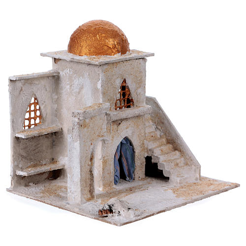 Arab house with stairs and archway for Nativity scene 25x25x20 cm 3