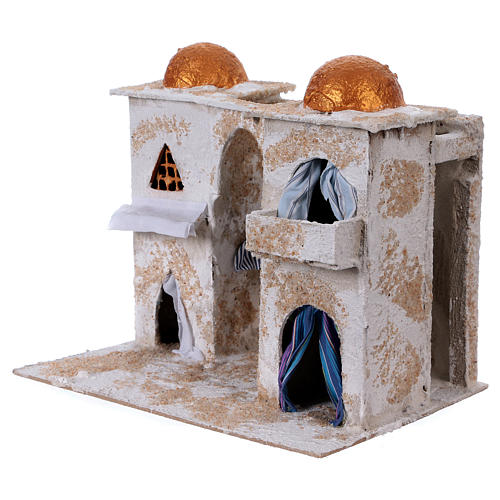 Arab house with two towers for Nativity scene 25x30x20 cm 2