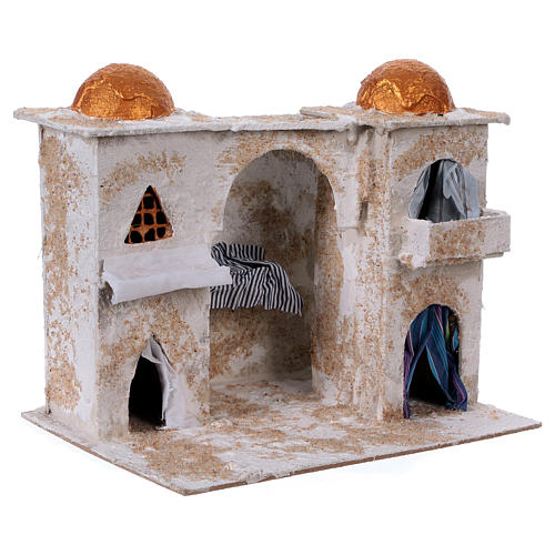 Arab house with two towers for Nativity scene 25x30x20 cm 3