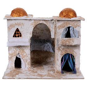 Presépio Napolitano: Casa árabe com duas torres 25x30x20 cm presépio Nápoles