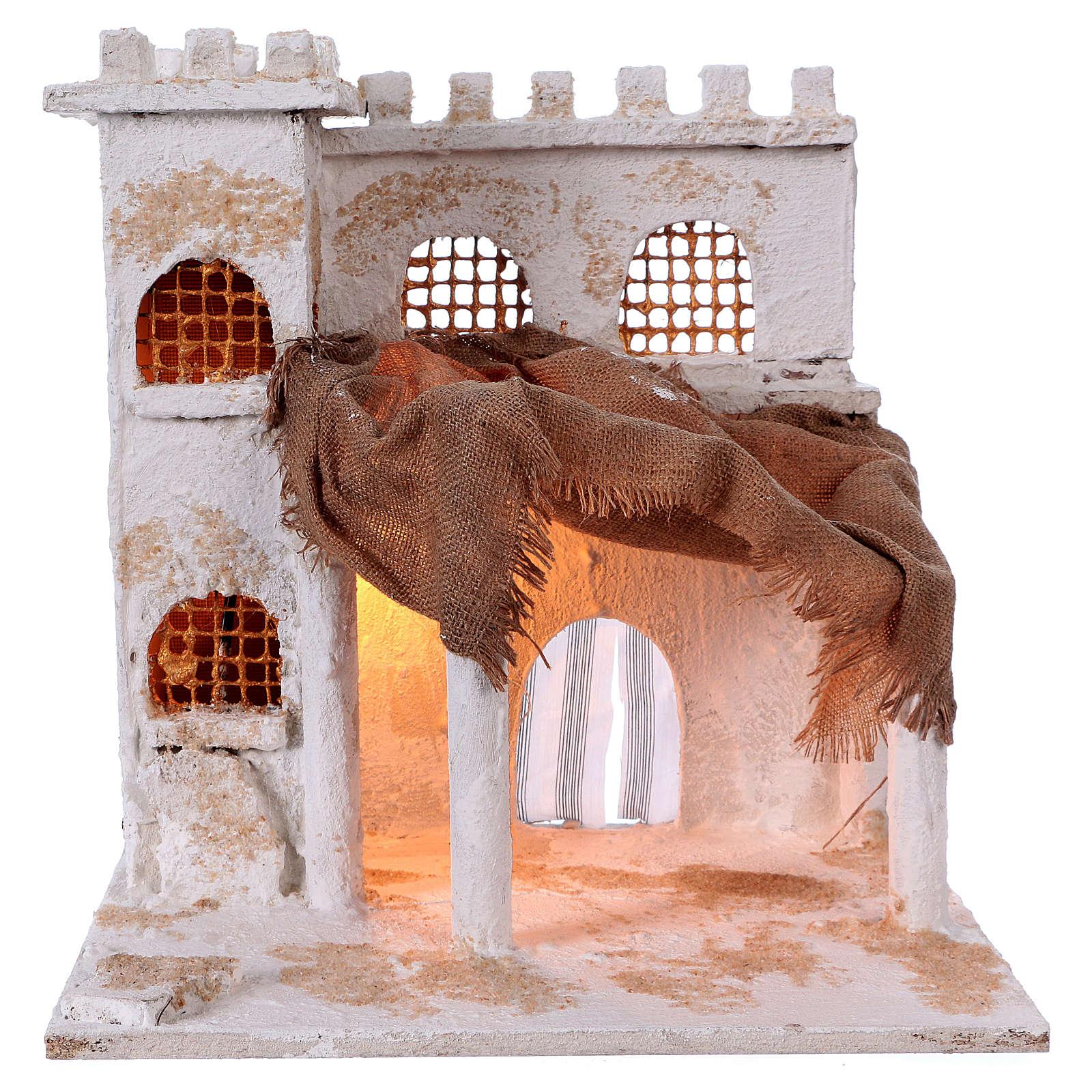 Casa araba con colonne e torre 40x35x30 cm presepe Napoli 4