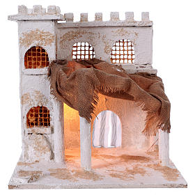 Presépio Napolitano: Casa árabe com colunas e torre 40x35x30 cm presépio Nápoles