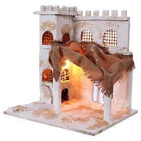 Arabian style house with pillars for Nativity scene 37x35x30 cm s2