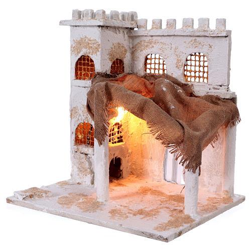 Arabian style house with pillars for Nativity scene 37x35x30 cm 2