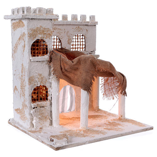 Arabian style house with pillars for Nativity scene 37x35x30 cm 3