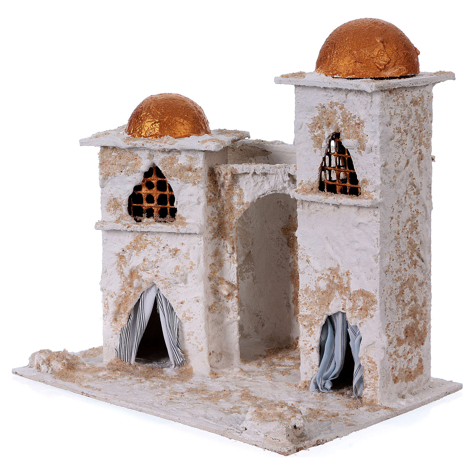 Arab house with domed painted in gold for Nativity scene 30x30x20 cm 4