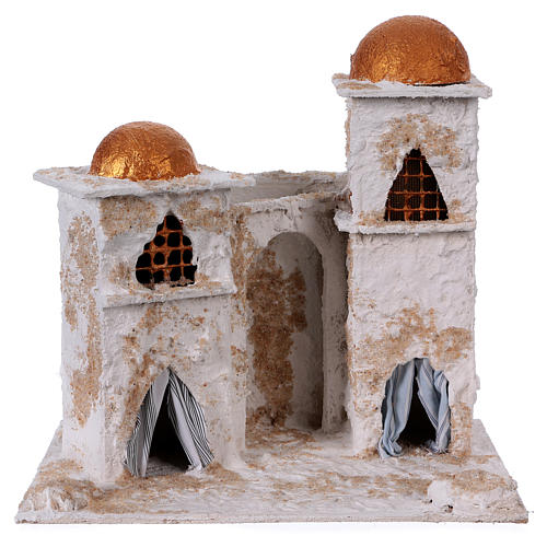 Arab house with domed painted in gold for Nativity scene 30x30x20 cm 1