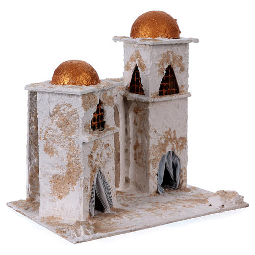 Arab house with domed painted in gold for Nativity scene 30x30x20 cm 3
