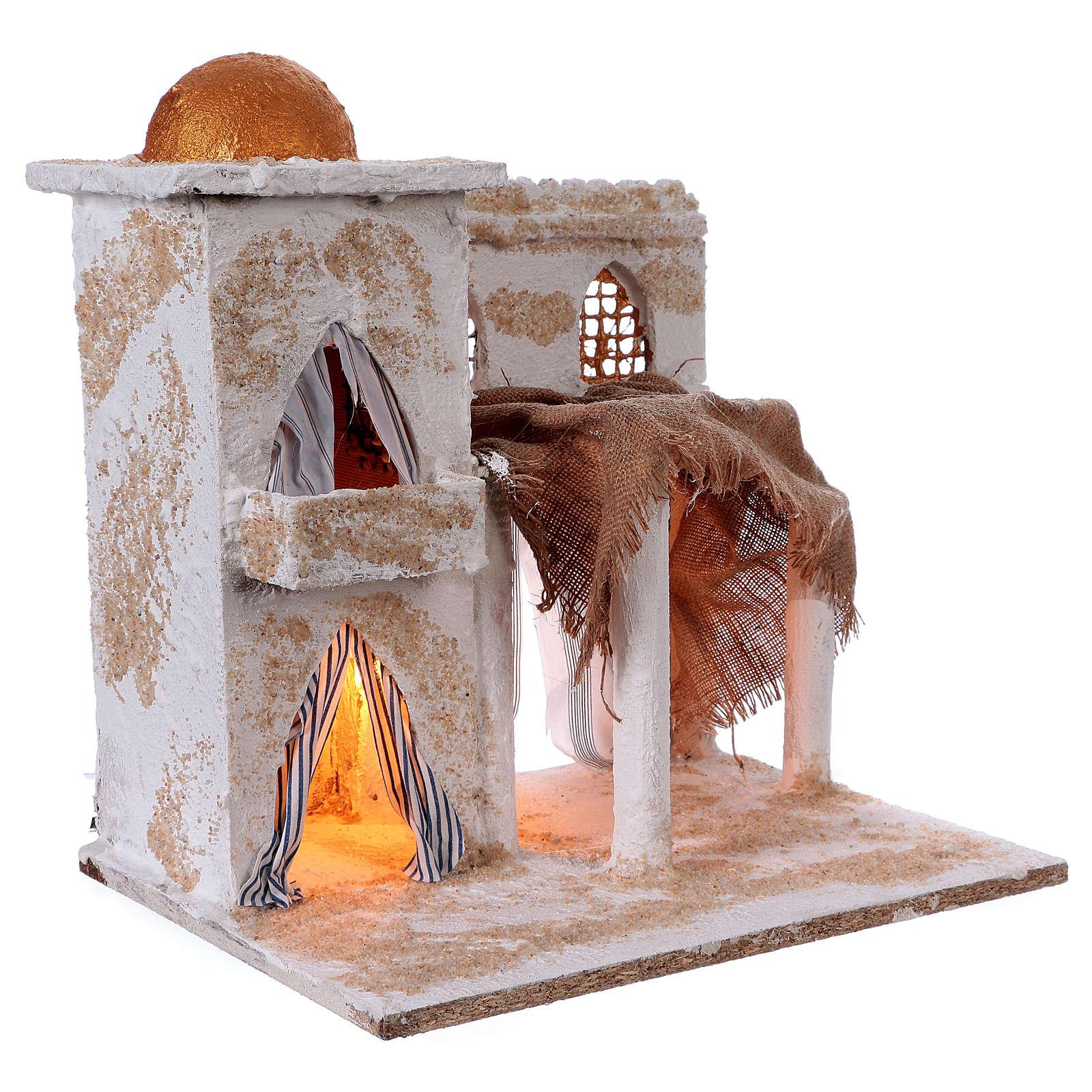 Casa araba con colonne torre cupola luci 35x35x25 cm presepe Napoli 4